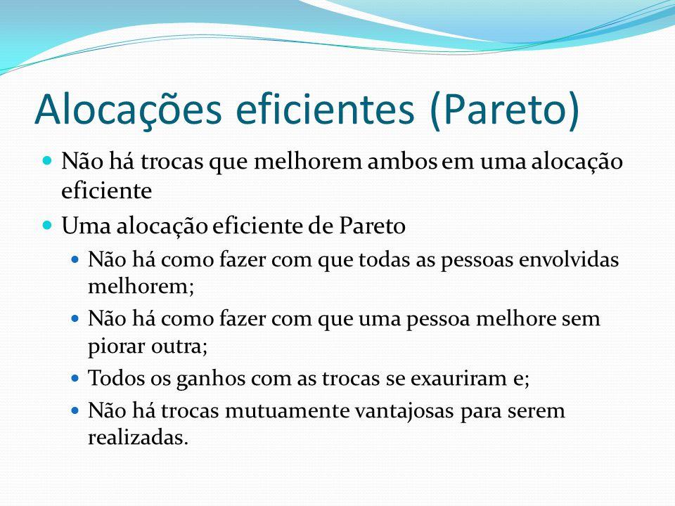 Alocações eficientes (Pareto) Não há trocas que melhorem ambos em uma alocação eficiente Uma alocação eficiente de Pareto Não há como fazer com que to