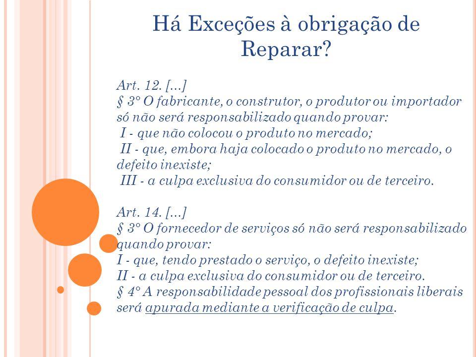 Há Exceções à obrigação de Reparar? Art. 12. [...] § 3° O fabricante, o construtor, o produtor ou importador só não será responsabilizado quando prova
