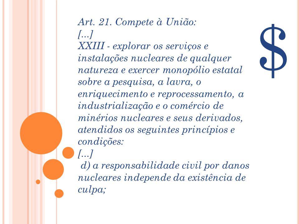 $ Art. 21. Compete à União: [...] XXIII - explorar os serviços e instalações nucleares de qualquer natureza e exercer monopólio estatal sobre a pesqui