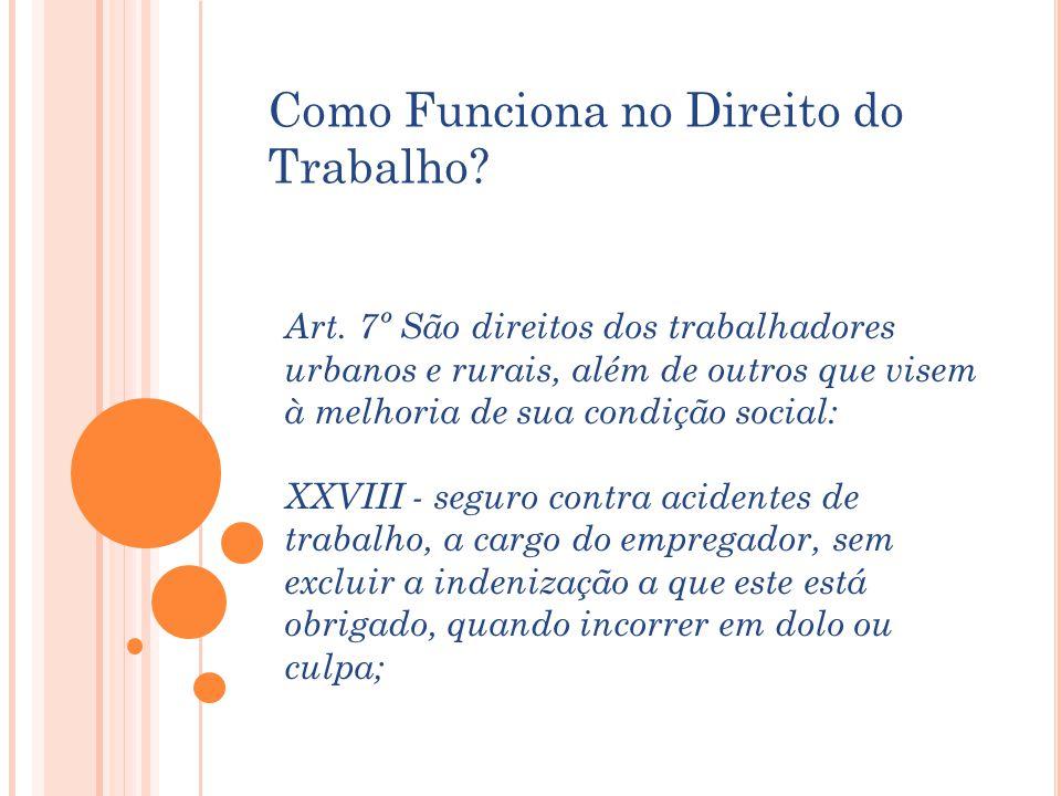 Art. 7º São direitos dos trabalhadores urbanos e rurais, além de outros que visem à melhoria de sua condição social: XXVIII - seguro contra acidentes