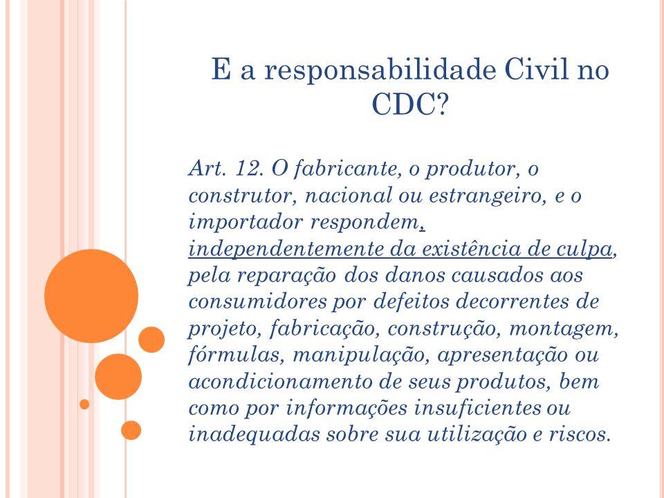 E a responsabilidade Civil no CDC? Art. 12. O fabricante, o produtor, o construtor, nacional ou estrangeiro, e o importador respondem, independentemen