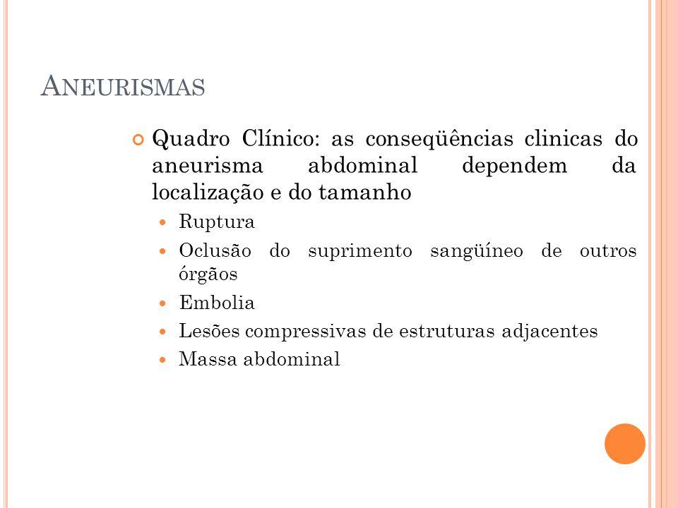 A NEURISMAS Quadro Clínico: as conseqüências clinicas do aneurisma abdominal dependem da localização e do tamanho Ruptura Oclusão do suprimento sangüí