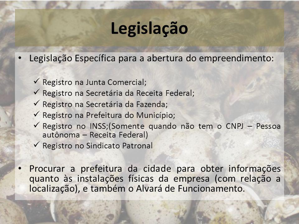 Legislação Legislação Específica para a abertura do empreendimento: Registro na Junta Comercial; Registro na Secretária da Receita Federal; Registro n