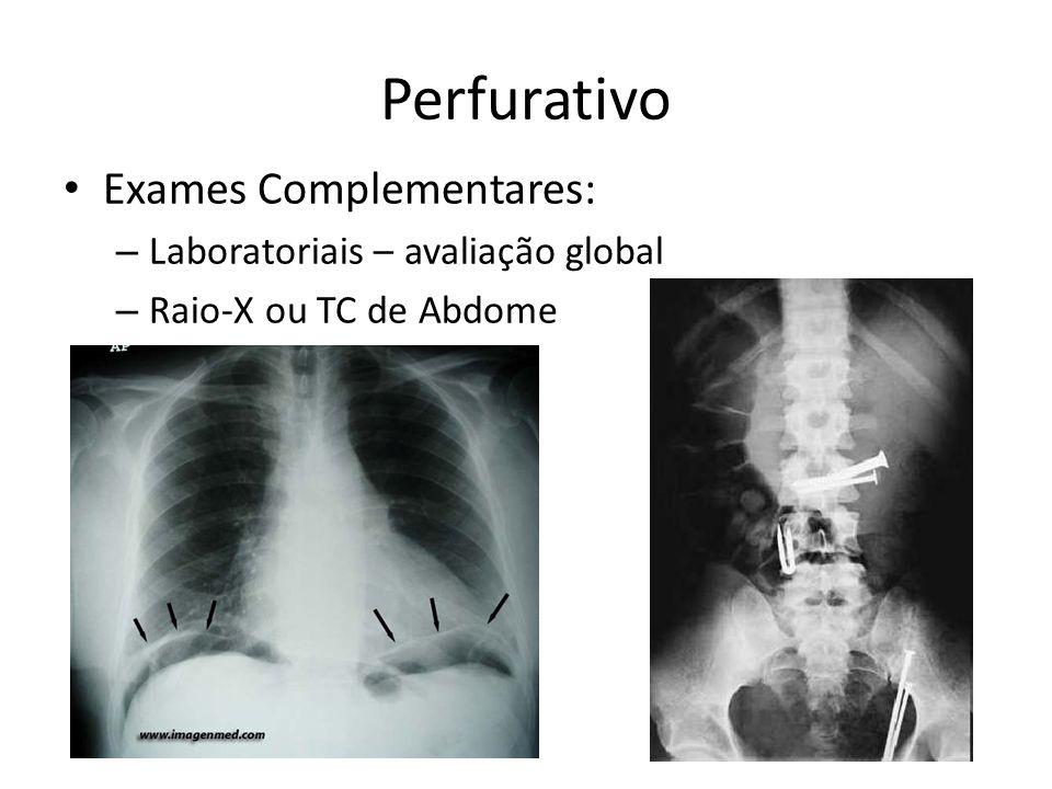 Exames Complementares: – Laboratoriais – avaliação global – Raio-X ou TC de Abdome Perfurativo