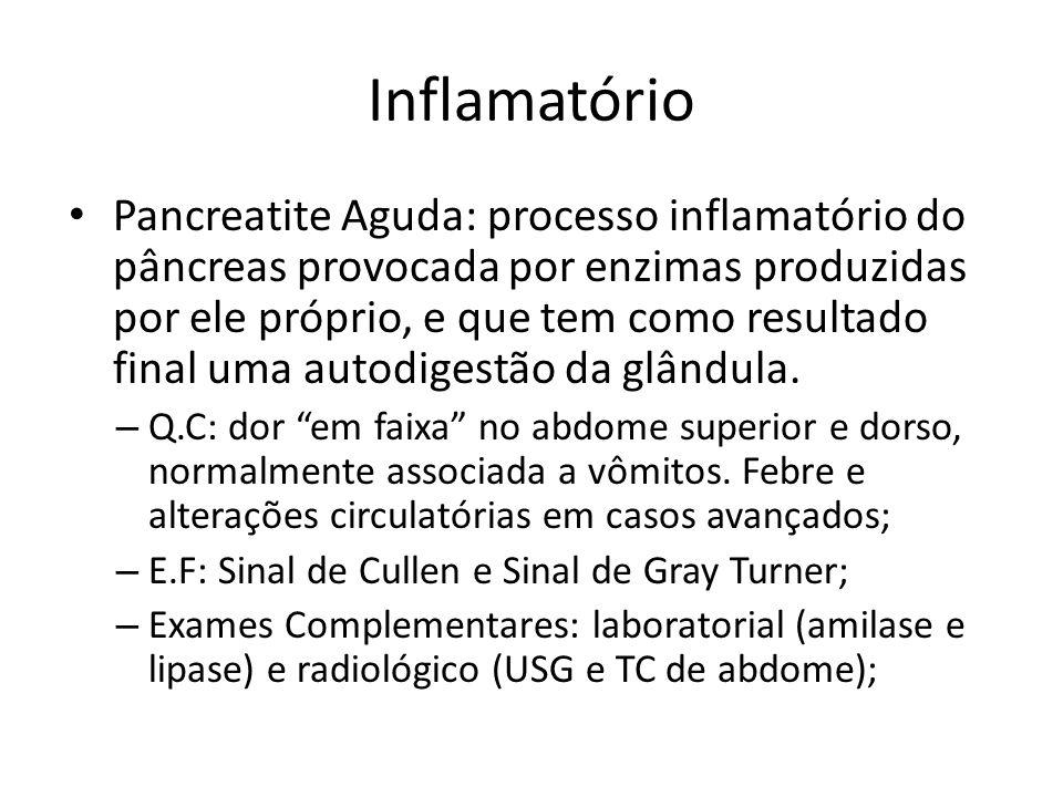 Pancreatite Aguda: processo inflamatório do pâncreas provocada por enzimas produzidas por ele próprio, e que tem como resultado final uma autodigestão