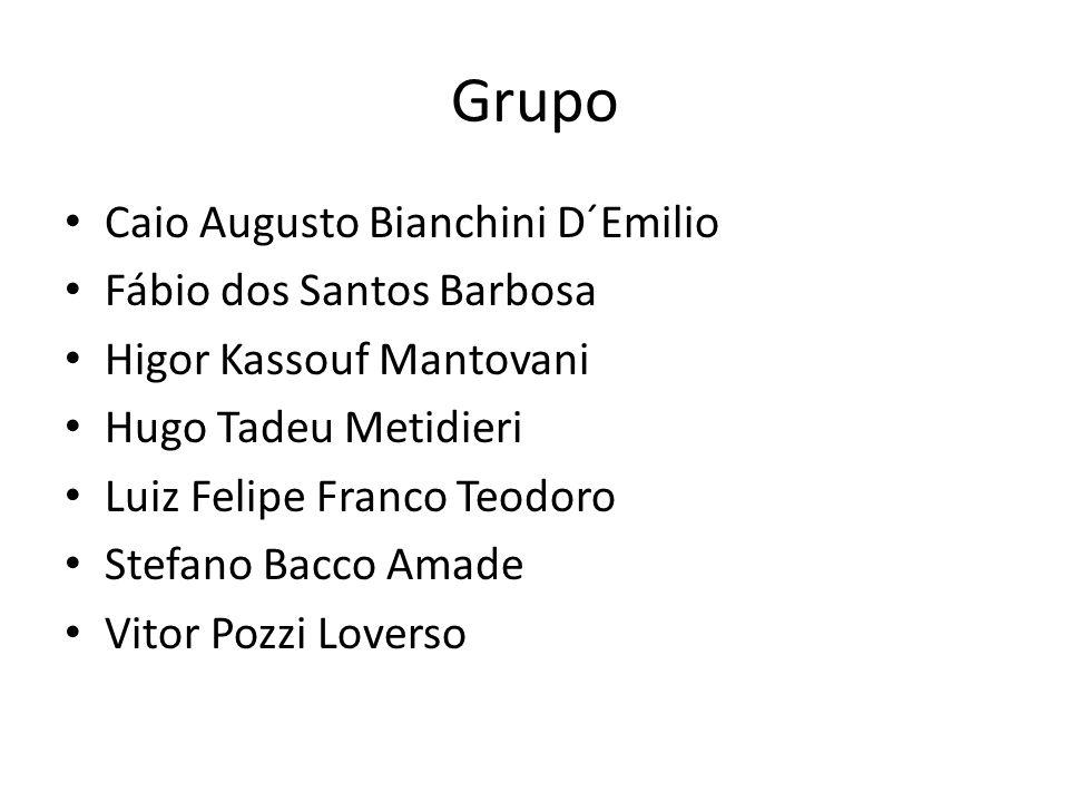 Grupo Caio Augusto Bianchini D´Emilio Fábio dos Santos Barbosa Higor Kassouf Mantovani Hugo Tadeu Metidieri Luiz Felipe Franco Teodoro Stefano Bacco A