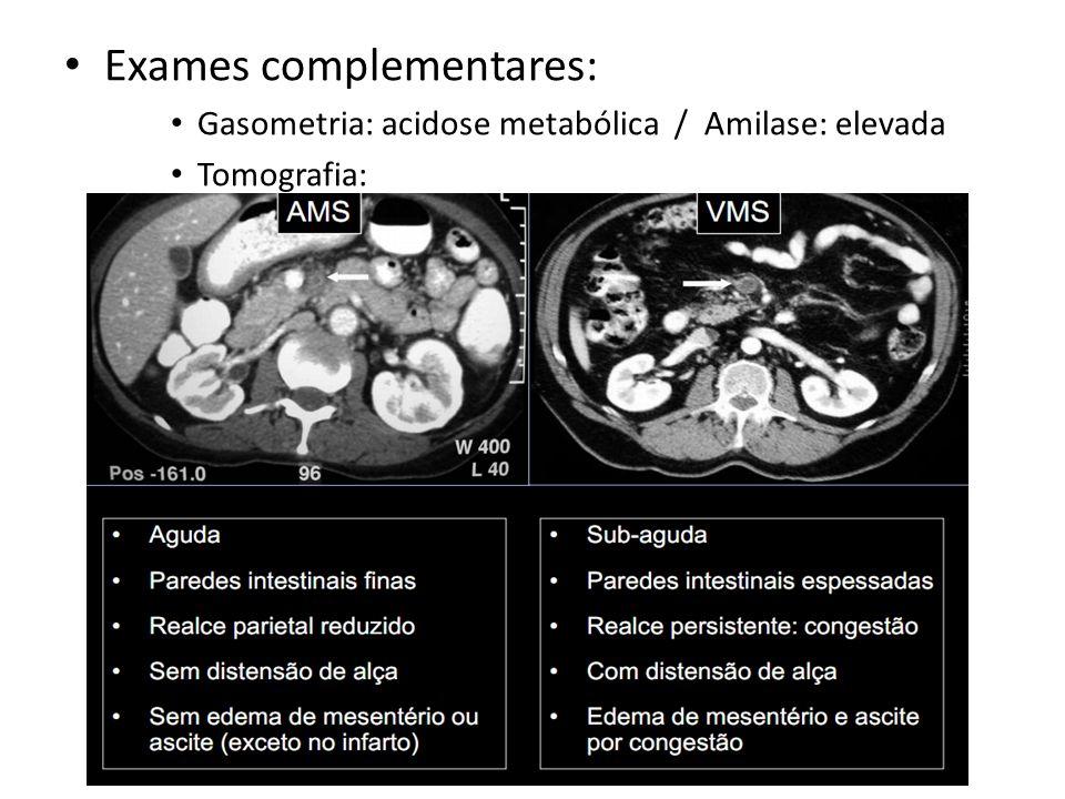 Exames complementares: Gasometria: acidose metabólica / Amilase: elevada Tomografia: