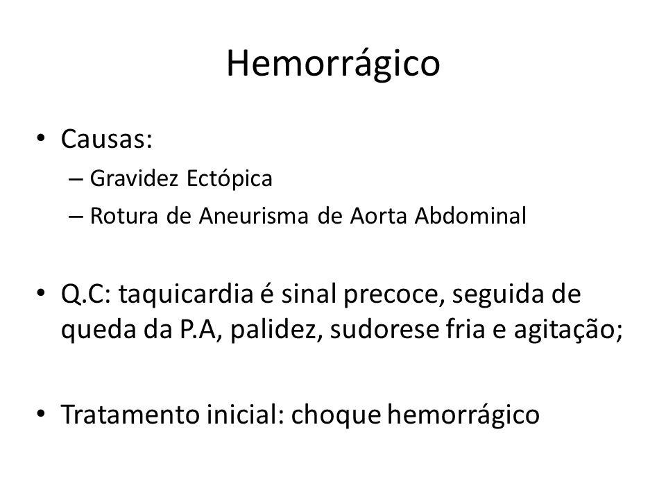 Hemorrágico Causas: – Gravidez Ectópica – Rotura de Aneurisma de Aorta Abdominal Q.C: taquicardia é sinal precoce, seguida de queda da P.A, palidez, s