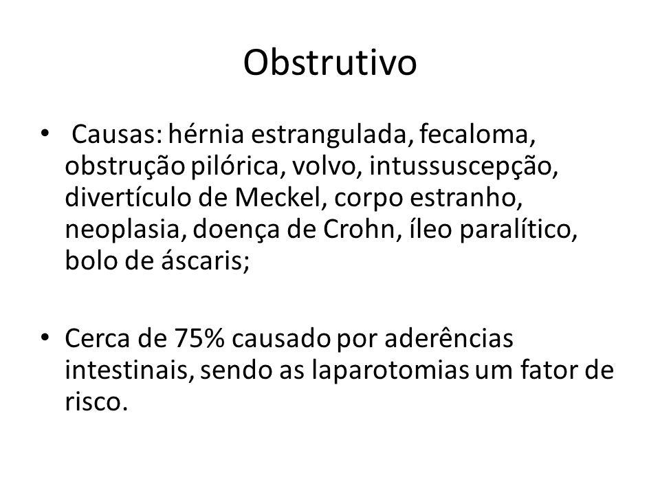 Obstrutivo Causas: hérnia estrangulada, fecaloma, obstrução pilórica, volvo, intussuscepção, divertículo de Meckel, corpo estranho, neoplasia, doença