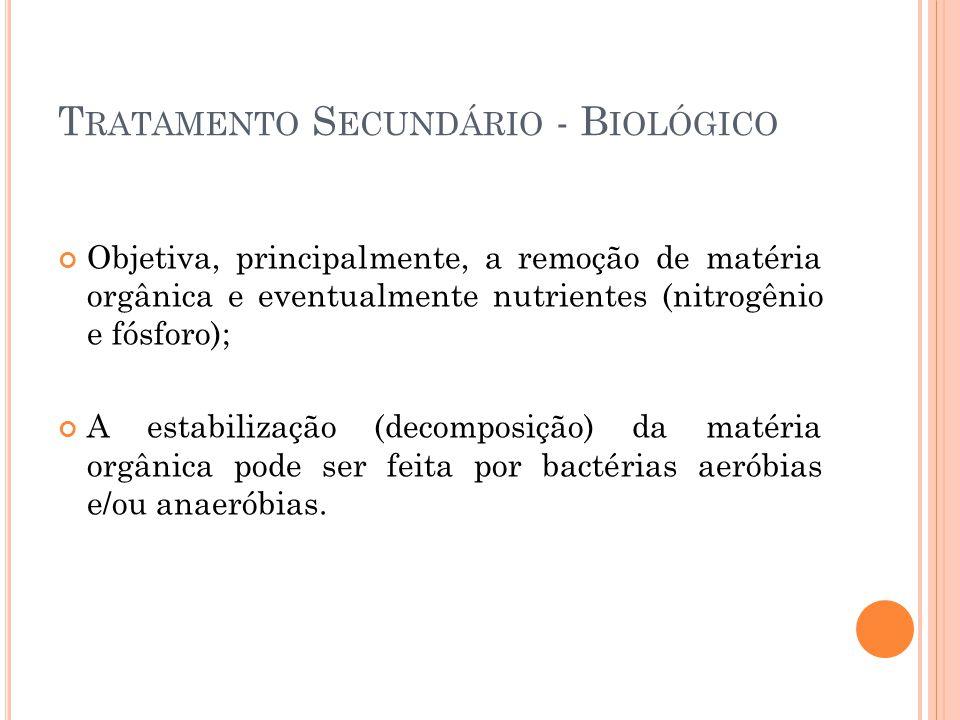 T RATAMENTO S ECUNDÁRIO - B IOLÓGICO Objetiva, principalmente, a remoção de matéria orgânica e eventualmente nutrientes (nitrogênio e fósforo); A esta