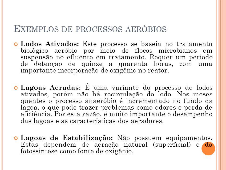 E XEMPLOS DE PROCESSOS AERÓBIOS Lodos Ativados: Este processo se baseia no tratamento biológico aeróbio por meio de flocos microbianos em suspensão no