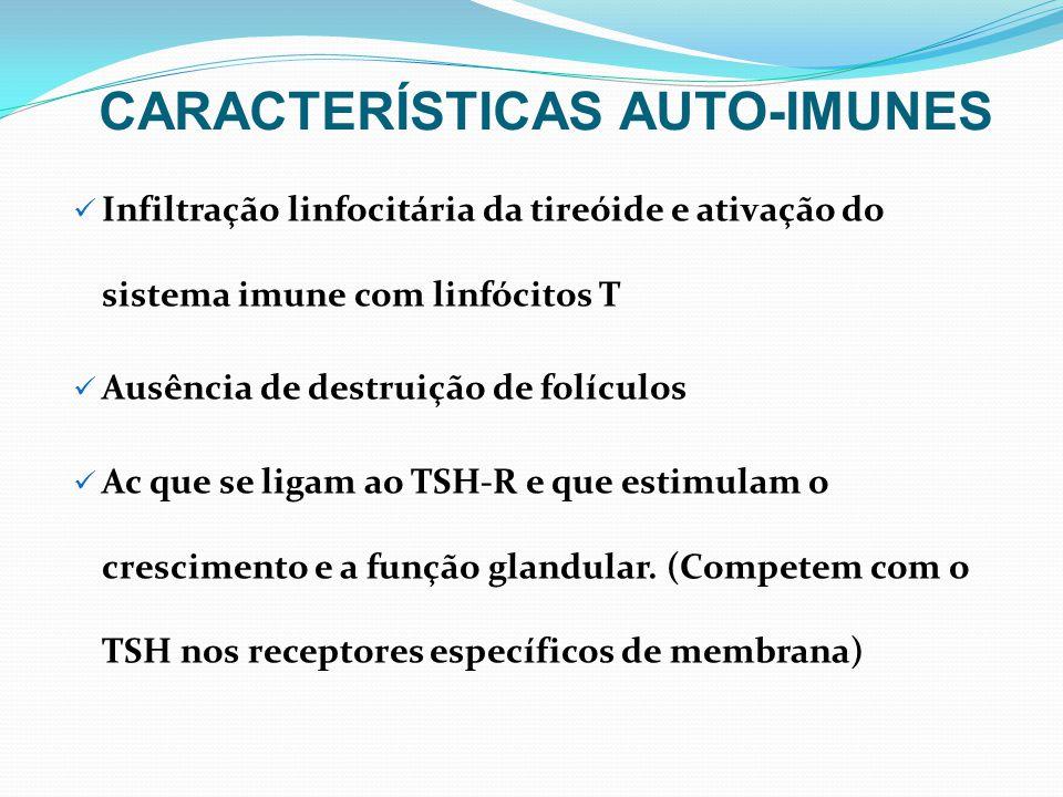 Infiltração linfocitária da tireóide e ativação do sistema imune com linfócitos T Ausência de destruição de folículos Ac que se ligam ao TSH-R e que e