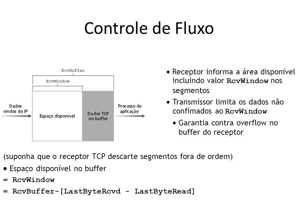 Controle de Fluxo (suponha que o receptor TCP descarte segmentos fora de ordem) Espaço disponível no buffer = RcvWindow = RcvBuffer-[LastByteRcvd - LastByteRead] Receptor informa a área disponível incluindo valor RcvWindow nos segmentos Transmissor limita os dados não confimados ao RcvWindow Garantia contra overflow no buffer do receptor
