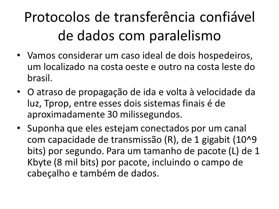Protocolos de transferência confiável de dados com paralelismo Vamos considerar um caso ideal de dois hospedeiros, um localizado na costa oeste e outro na costa leste do brasil.
