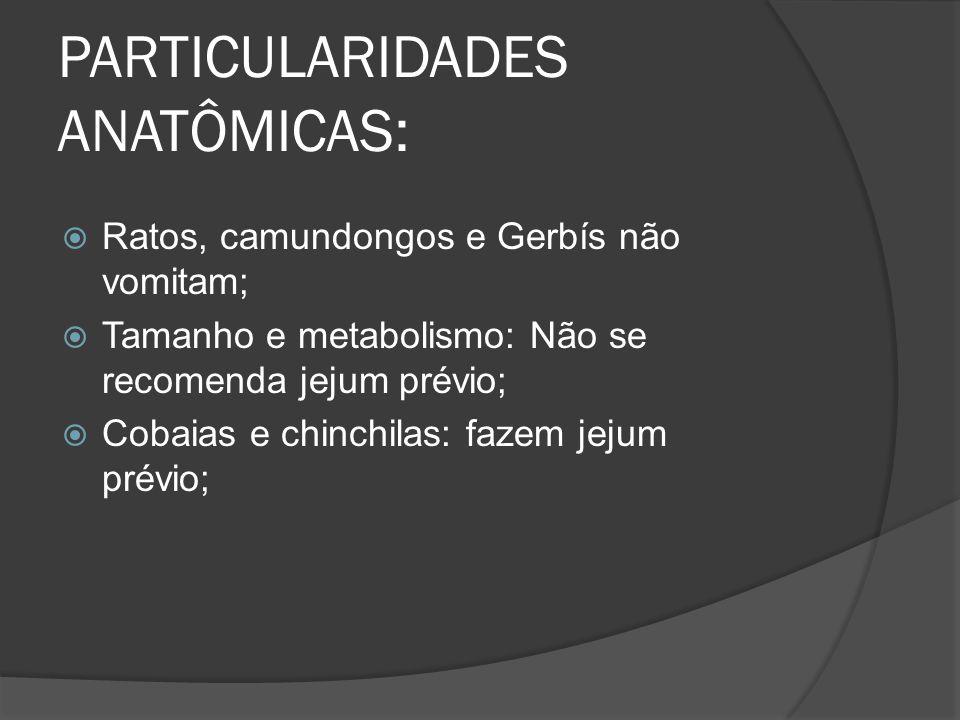 PARTICULARIDADES ANATÔMICAS: Ratos, camundongos e Gerbís não vomitam; Tamanho e metabolismo: Não se recomenda jejum prévio; Cobaias e chinchilas: faze