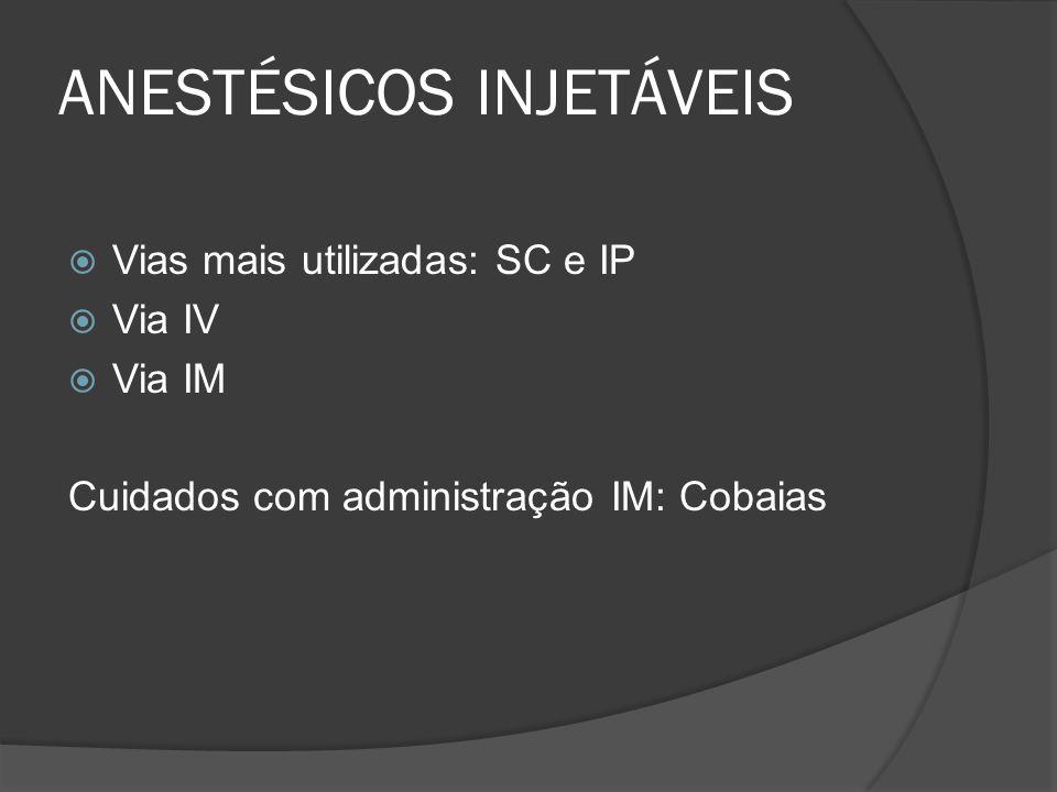 ANESTÉSICOS INJETÁVEIS Vias mais utilizadas: SC e IP Via IV Via IM Cuidados com administração IM: Cobaias