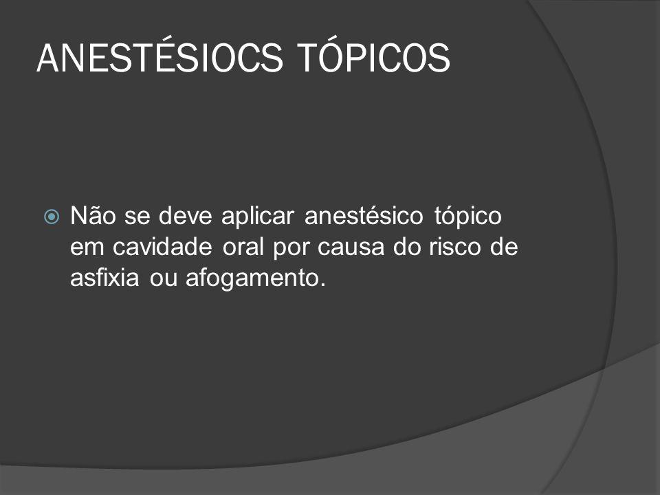 ANESTÉSIOCS TÓPICOS Não se deve aplicar anestésico tópico em cavidade oral por causa do risco de asfixia ou afogamento.