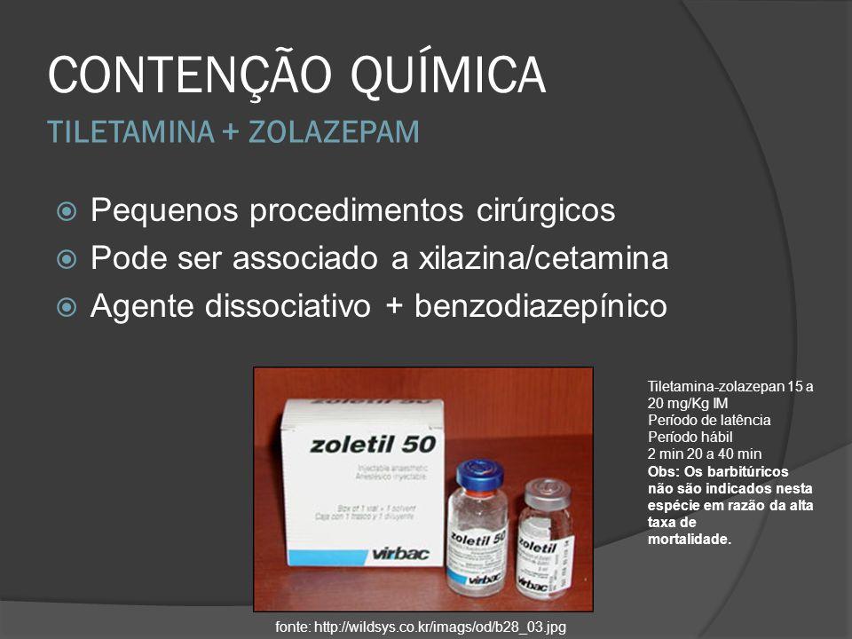 TILETAMINA + ZOLAZEPAM CONTENÇÃO QUÍMICA Pequenos procedimentos cirúrgicos Pode ser associado a xilazina/cetamina Agente dissociativo + benzodiazepíni