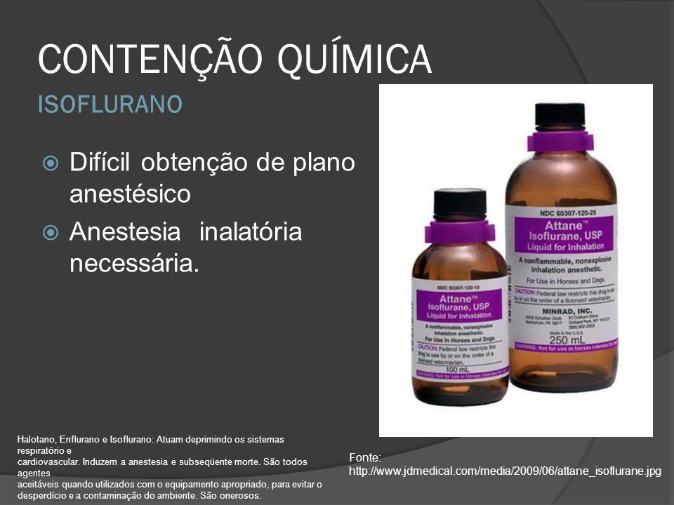 ISOFLURANO CONTENÇÃO QUÍMICA Difícil obtenção de plano anestésico Anestesia inalatória necessária. Fonte: http://www.jdmedical.com/media/2009/06/attan