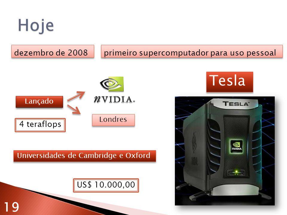 dezembro de 2008 primeiro supercomputador para uso pessoal Universidades de Cambridge e Oxford Tesla Lançado Londres 19 US$ 10.000,00 4 teraflops