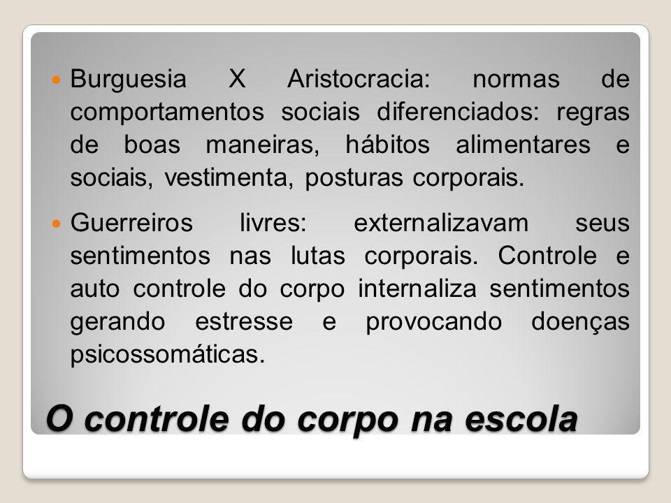 O controle do corpo na escola Burguesia X Aristocracia: normas de comportamentos sociais diferenciados: regras de boas maneiras, hábitos alimentares e sociais, vestimenta, posturas corporais.