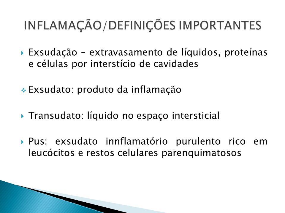 Exsudação – extravasamento de líquidos, proteínas e células por interstício de cavidades Exsudato: produto da inflamação Transudato: líquido no espaço