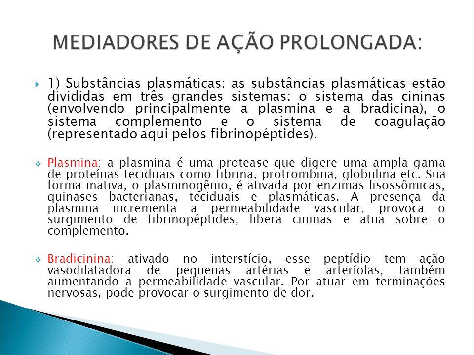1) Substâncias plasmáticas: as substâncias plasmáticas estão divididas em três grandes sistemas: o sistema das cininas (envolvendo principalmente a pl