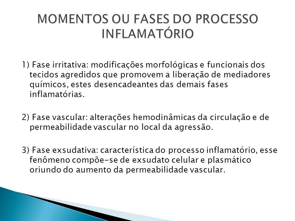 1) Fase irritativa: modificações morfológicas e funcionais dos tecidos agredidos que promovem a liberação de mediadores químicos, estes desencadeantes