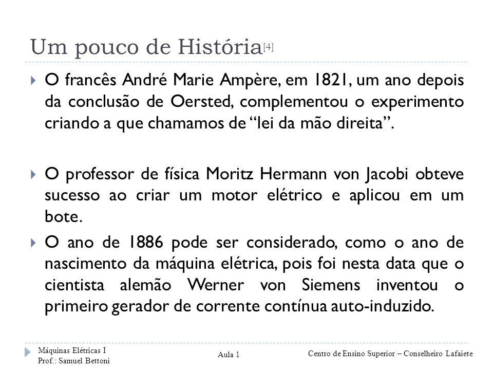 Um pouco de História [4] O francês André Marie Ampère, em 1821, um ano depois da conclusão de Oersted, complementou o experimento criando a que chamamos de lei da mão direita.
