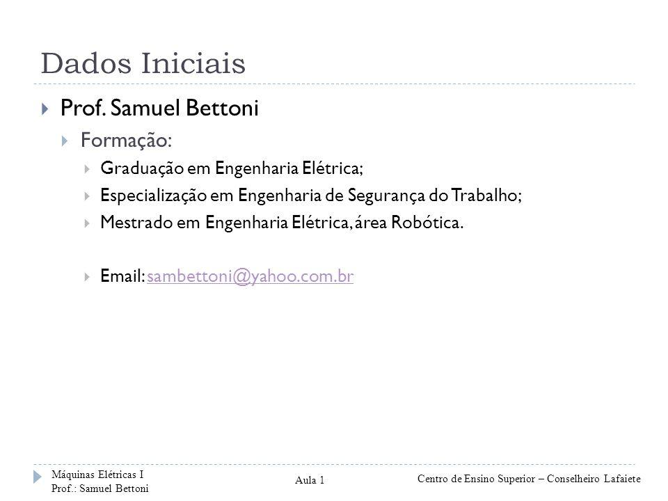 Dados Iniciais Prof. Samuel Bettoni Formação: Graduação em Engenharia Elétrica; Especialização em Engenharia de Segurança do Trabalho; Mestrado em Eng
