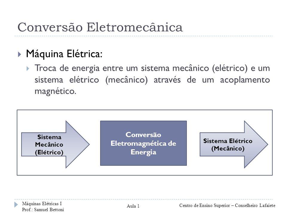 Conversão Eletromecânica Máquina Elétrica: Troca de energia entre um sistema mecânico (elétrico) e um sistema elétrico (mecânico) através de um acopla