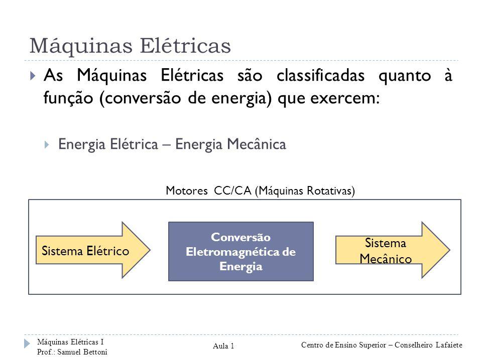 Máquinas Elétricas Sistema Elétrico Conversão Eletromagnética de Energia Sistema Mecânico As Máquinas Elétricas são classificadas quanto à função (con