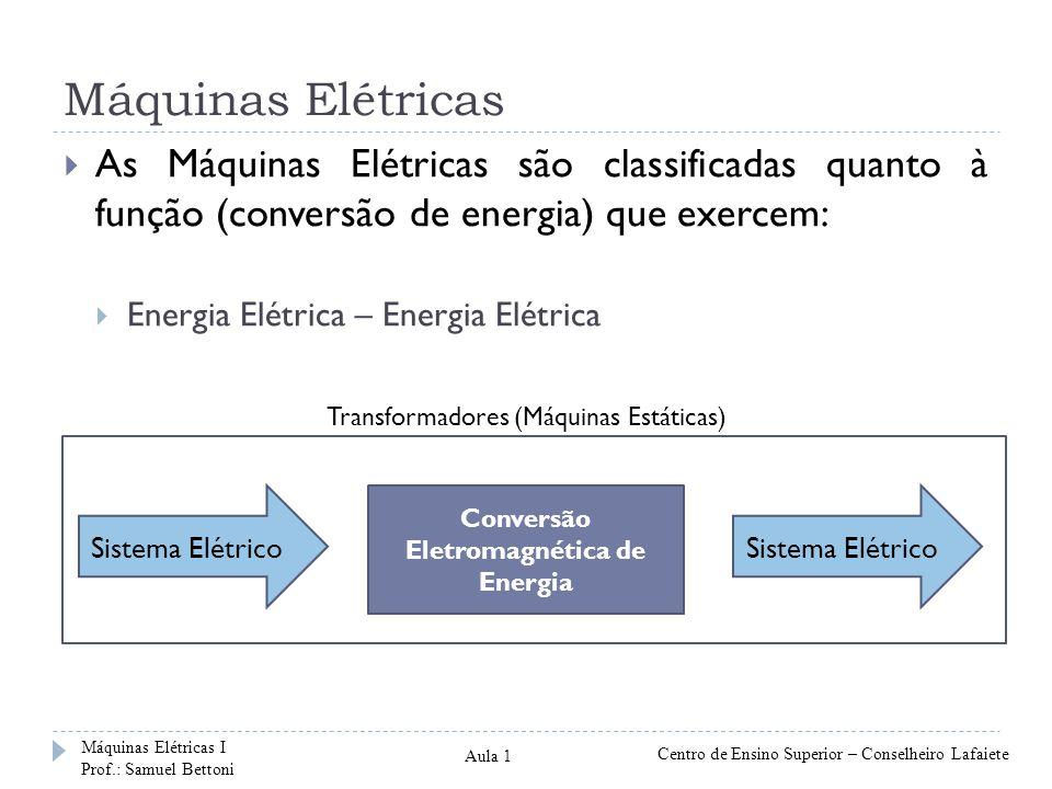 Máquinas Elétricas Sistema Elétrico Conversão Eletromagnética de Energia Sistema Elétrico As Máquinas Elétricas são classificadas quanto à função (con