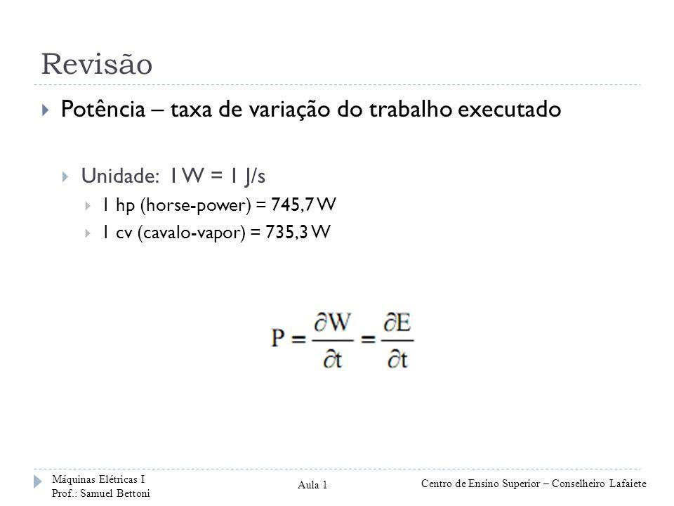 Revisão Potência – taxa de variação do trabalho executado Unidade: 1 W = 1 J/s 1 hp (horse-power) = 745,7 W 1 cv (cavalo-vapor) = 735,3 W Máquinas Elé