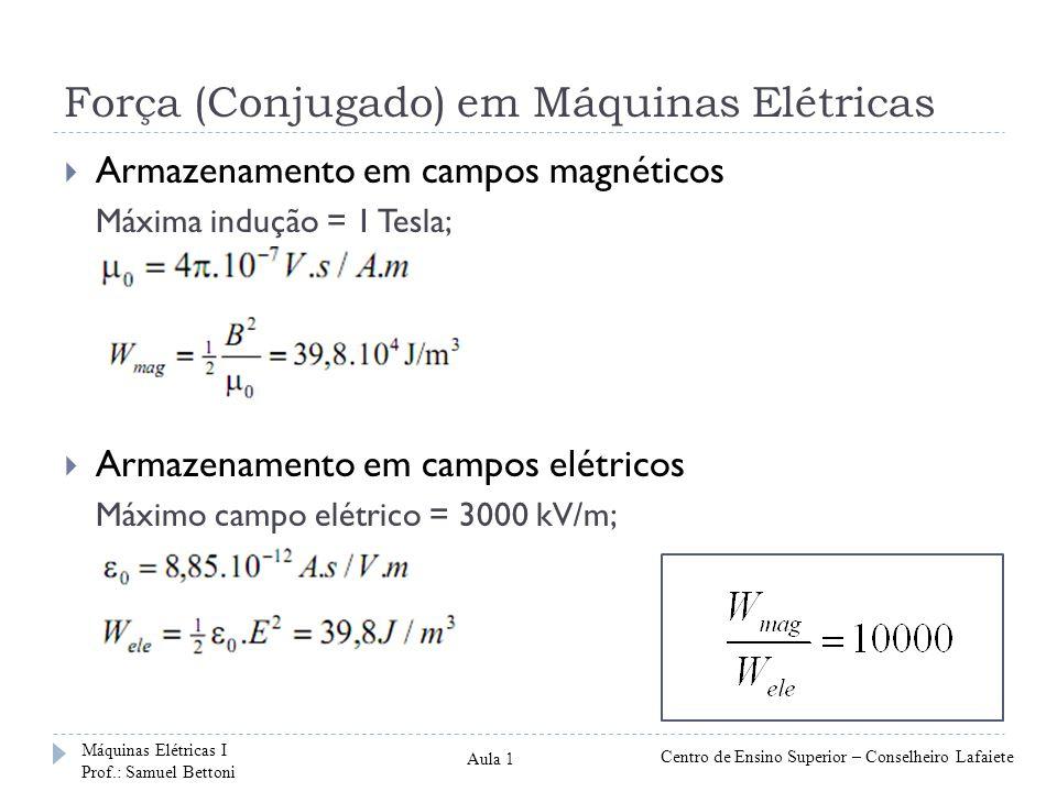 Força (Conjugado) em Máquinas Elétricas Armazenamento em campos magnéticos Máxima indução = 1 Tesla; Armazenamento em campos elétricos Máximo campo elétrico = 3000 kV/m; Máquinas Elétricas I Prof.: Samuel Bettoni Centro de Ensino Superior – Conselheiro Lafaiete Aula 1