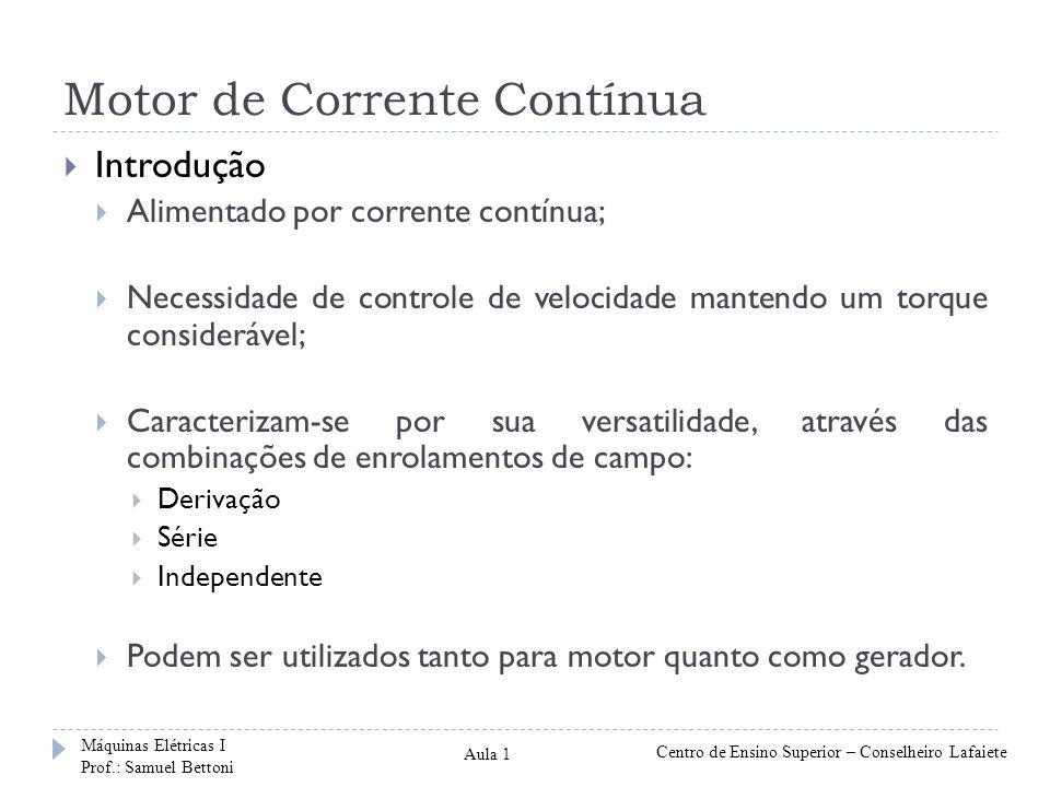 Motor de Corrente Contínua Introdução Alimentado por corrente contínua; Necessidade de controle de velocidade mantendo um torque considerável; Caracte