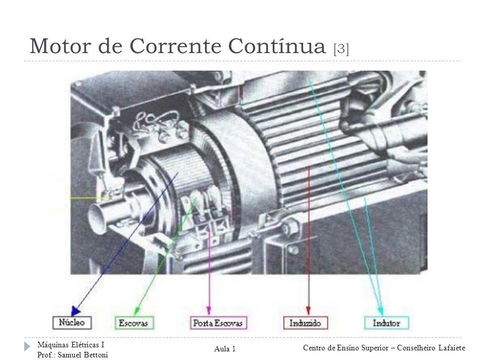 Motor de Corrente Contínua [3] Máquinas Elétricas I Prof.: Samuel Bettoni Centro de Ensino Superior – Conselheiro Lafaiete Aula 1