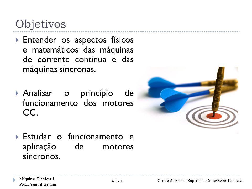Ementa Máquinas de Corrente Contínua Princípios de funcionamento; Enrolamentos do circuito de armadura; Tensão de armadura e conjugado desenvolvido; Classificação dos motores CC; Motor com excitação independente; Métodos de partida e de controle de velocidade.