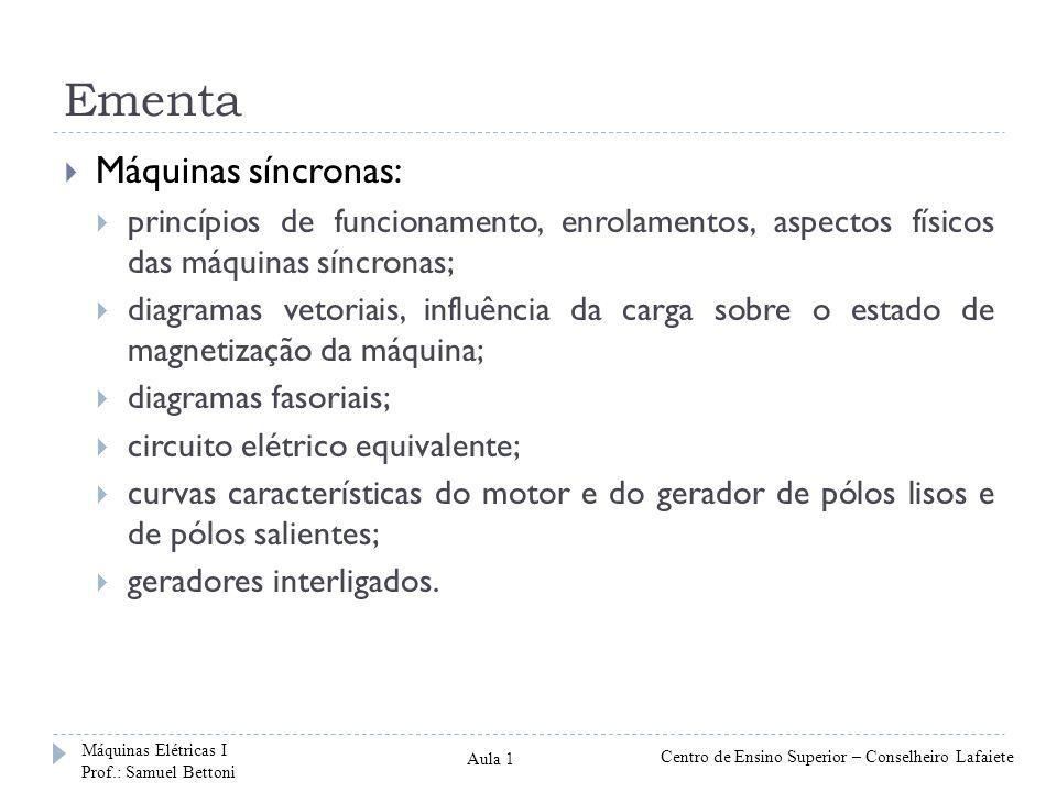 Ementa Máquinas síncronas: princípios de funcionamento, enrolamentos, aspectos físicos das máquinas síncronas; diagramas vetoriais, influência da carg