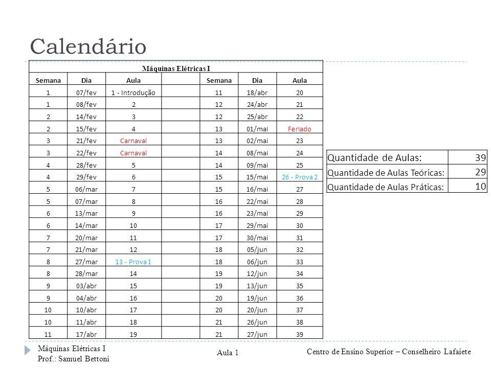 Calendário Máquinas Elétricas I SemanaDiaAula SemanaDiaAula 107/fev1 - Introdução 1118/abr20 108/fev2 1224/abr21 214/fev3 1225/abr22 215/fev4 1301/mai