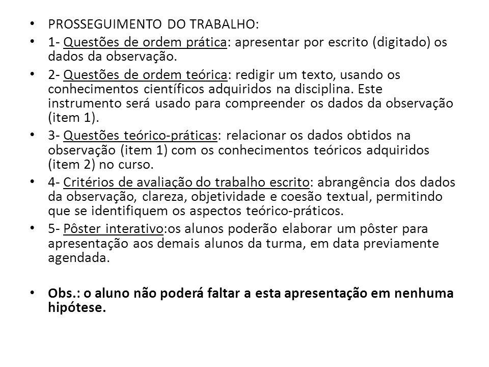 PROSSEGUIMENTO DO TRABALHO: 1- Questões de ordem prática: apresentar por escrito (digitado) os dados da observação.