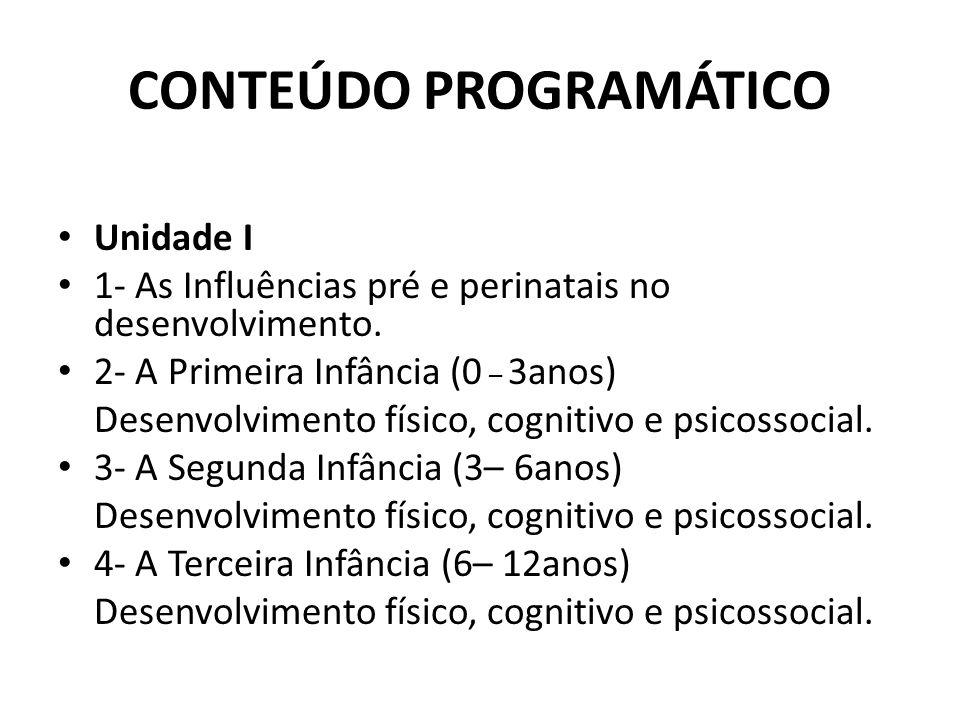 CONTEÚDO PROGRAMÁTICO Unidade I 1- As Influências pré e perinatais no desenvolvimento.