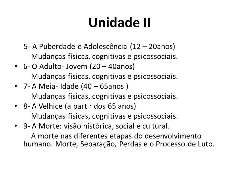 Unidade II 5- A Puberdade e Adolescência (12 – 20anos) Mudanças físicas, cognitivas e psicossociais.