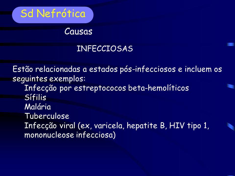 Estão relacionadas a estados pós-infecciosos e incluem os seguintes exemplos: Infecção por estreptococos beta-hemolíticos Sífilis Malária Tuberculose Infecção viral (ex, varicela, hepatite B, HIV tipo 1, mononucleose infecciosa) INFECCIOSAS Sd Nefrótica Causas