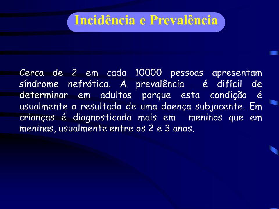 Incidência e Prevalência Cerca de 2 em cada 10000 pessoas apresentam síndrome nefrótica.