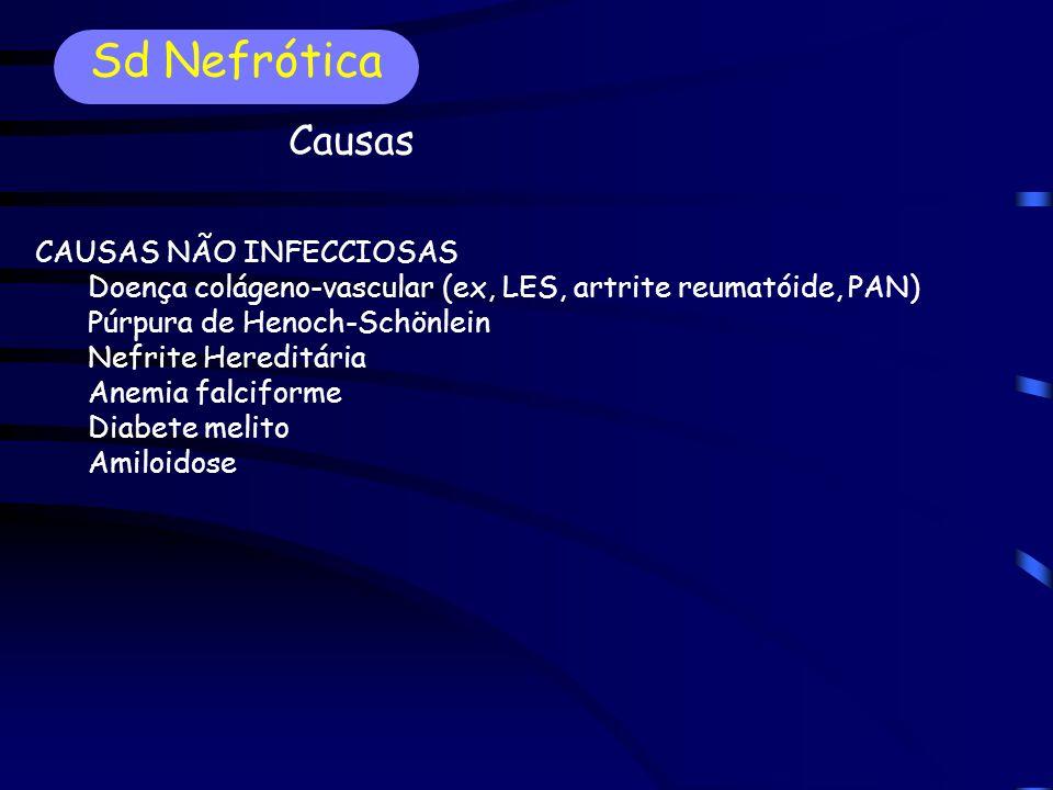 CAUSAS NÃO INFECCIOSAS Doença colágeno-vascular (ex, LES, artrite reumatóide, PAN) Púrpura de Henoch-Schönlein Nefrite Hereditária Anemia falciforme Diabete melito Amiloidose Sd Nefrótica Causas