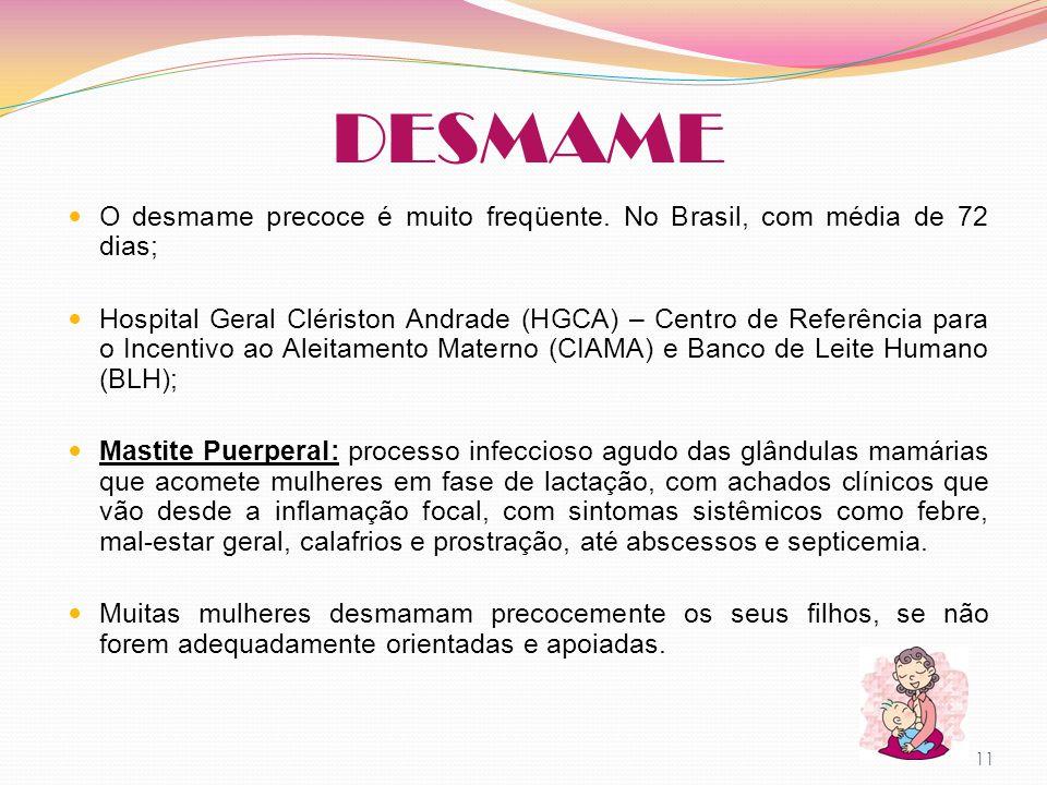 DESMAME O desmame precoce é muito freqüente. No Brasil, com média de 72 dias; Hospital Geral Clériston Andrade (HGCA) – Centro de Referência para o In