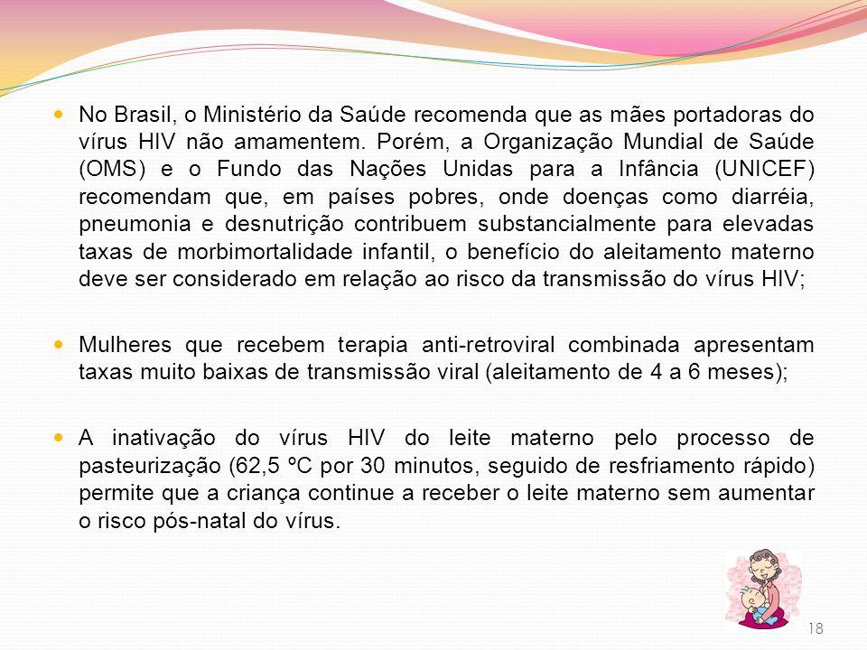 No Brasil, o Ministério da Saúde recomenda que as mães portadoras do vírus HIV não amamentem. Porém, a Organização Mundial de Saúde (OMS) e o Fundo da