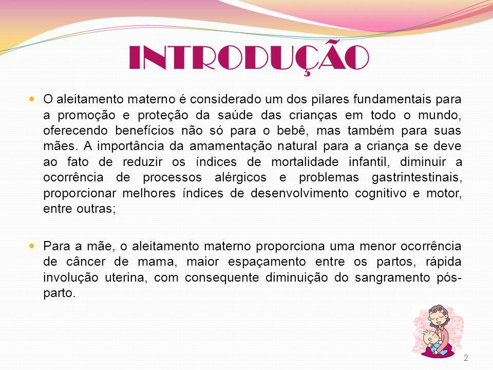 INTRODUÇÃO O aleitamento materno é considerado um dos pilares fundamentais para a promoção e proteção da saúde das crianças em todo o mundo, oferecend