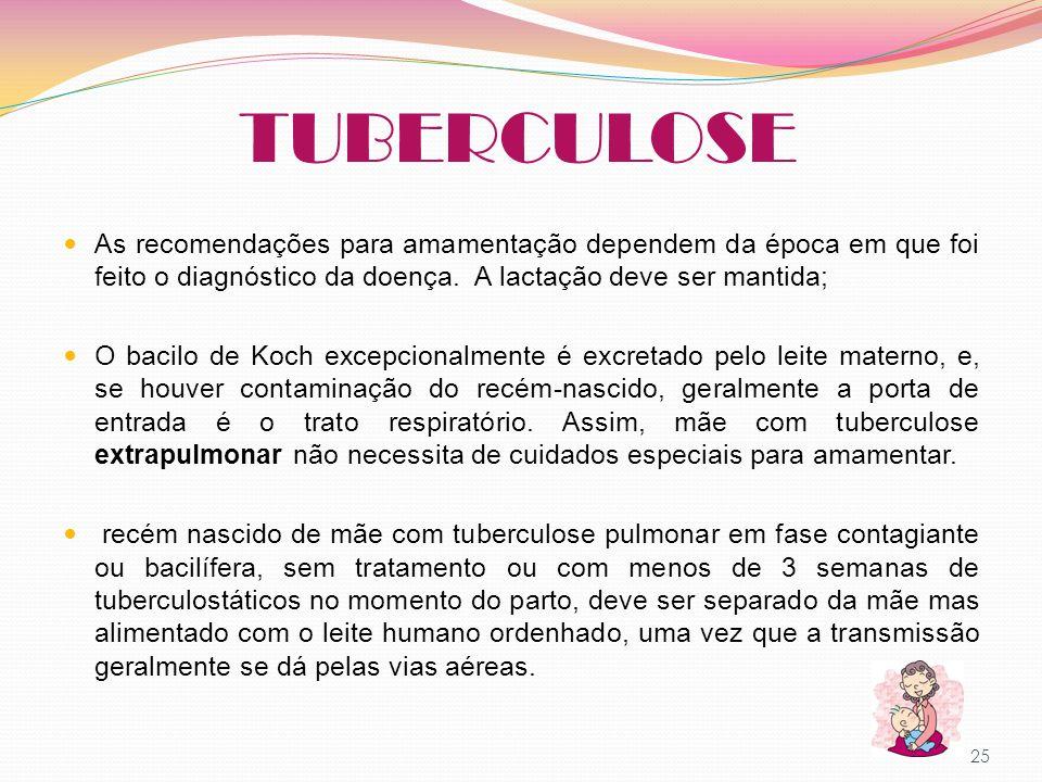 TUBERCULOSE As recomendações para amamentação dependem da época em que foi feito o diagnóstico da doença. A lactação deve ser mantida; O bacilo de Koc